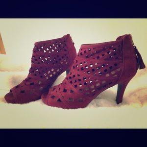 Lane Bryant Burgundy Lattice Peep Toe Heels